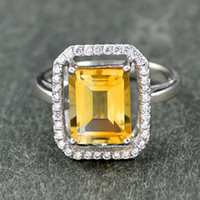 Solitaire Ring Bohemian Women's Yi Hyun natural citrine gemstone ring 925 sterling silver ring jewelry silver jewelry fashion female models