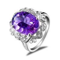 Solitaire Ring Bohemian Women's Natural amethyst citrine gemstone ring 925 sterling silver platinum ring Korean fashion female models