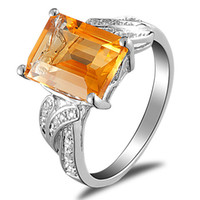 Cheap Natural citrine gemstone ring 925 sterling silver jewelry silver jewelry fashion female models