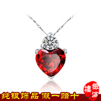 Wholesale Heart clavicle chain necklace sterling silver pendants jewelry red garnet sterling silver necklace PE056 sincere heart8 YML8 YML8 YML