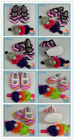 Wholesale New Arrivals infant Chevron Prined crib shoes Zig Zag Rainbow Bubblegum baby shoes with shabby flower headband set sets