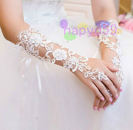 Wholesale 1 pair free ship fashion hollow lace bride gloves wedding gloves hook finger gloves fingerless bridesmaid banquet gloves
