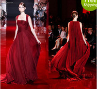 Reference Images Halter Chiffon 2014 Elie Saab Wine Red Evening Dresses Ruched Bodice Greek Goddess Stylies Women Formal Party Gowns Chiffon Custom Made Court Train Hot New