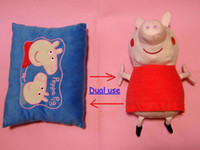 Wholesale DHL Fedex EMS Ship Baby Peppa pig pillow pink pig Plush Doll Toy cm deformation pillows amp toys double use pepei sister toys pillows Melee