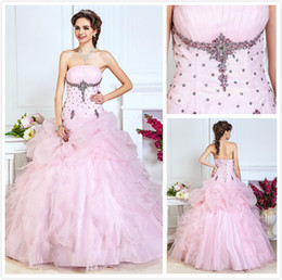 Wholesale 2014 New Beaded Handmade Flowers Sleeveless Ball Gown A Line Strapless Floor length Organza Lace up Quinceanera Dresses