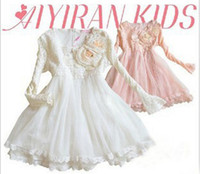 cotton clothing for children - 14 New Children Clothing For Spring Fall Pure Cotton Net Yarn Flower Girl Lace Princess Dress Hot Sale Baby Kids Dress Colour QZ440