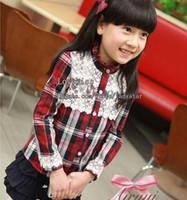 Wholesale Girls Cute Lace Shirts Child Clothes Long Sleeve T Shirts Fashion Red Plaid Shirt Kids Clothing Cotton Shirts Casual Shirt Children Shirts