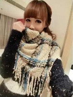 Cheap The new autumn and winter super textured loop yarn cashmere wool scarf fringed female models