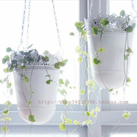 Wholesale Fashion rustic hanging basket flower pot brief basket belt chain