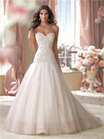 Romantic 2014 A Line Wedding Dresses Sweetheart Bead Embroid...