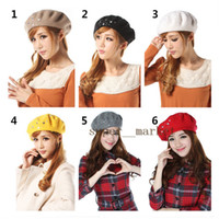 Wholesale Korea star point drill Beret Hat lovely Woolen wild Baseball Cap sweet dome Ball Caps