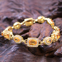 Cheap Rose gold -plated 925 sterling silver natural citrine bracelet female Korean fashion jewelry silver jewelry birthday gift