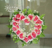 Wholesale Heart wreath artificial flower dried flowers artificial flower bride hand stick flower