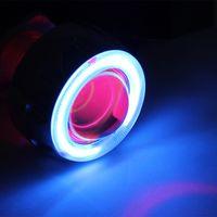 Headlights 12v ccfl - 35w v h4 motorcycle hid bi xenon projector lens light for motorcycle headlamp Blue angel Red Devil Eye CCFL