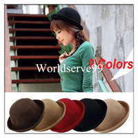 Wholesale Vintage Women Men Wool Roll Brim Cloches Bowler Derby Hats Warmer Unisex Billycock Wool Cap Fedoras Colors