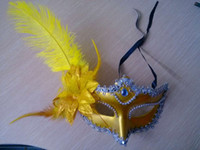 Wholesale New masquerade masks feather mask party supplies Venice mask Flower Plastic Masks Halloween Venetian Masquerade Dance Party