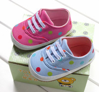 Wholesale NEW kids comfortable Casual shoes baby girls amp boys rubber soled shoes Dot canvas children sneakers