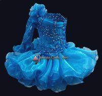 Wholesale One shoulder mini short toddler Infant Cupcakes Organza Ballgown Little kid Wedding Flower Girls dress STATENATIONAL Pageant Dresses custom