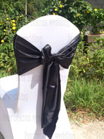 Wholesale black satin chair sash bow ribbon wedding party banquet decoration