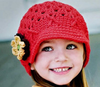 Wholesale Hand Crochet Baby Flower Hat Spring Knitted Girls Flower Cap Handmade Baby Hat Kids Infant Beani