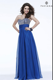 Wholesale Faviana Royal Blue Crystal Chiffon Prom Dresses Sweetheart Beaded Floor Length A Line Pageant Evening Formal Dresses Ruffled Zipper