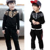 Wholesale boys fashion leopard outfits children hoodie trousers sets kids suits popular garment autumn clothing colors fxygmy