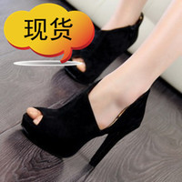 Wholesale Fashion open toe high heeled shoes princess platform thin heels cutout black shoes