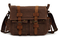 Cross Body Men Plain Men's Vintage Canvas Leather School Military Shoulder Bag Messenger Bag 2138#