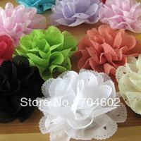 Wholesale DIY Eyelet Chiffon Lace Flowers DIY Fabric Flower For Headband Appliques Pins Photo Prop TH08