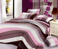 Cheap Wholesale - red brown purple white Streak flower Cotton Queen Size Duvet quilt Doona Cover bed Set sheet 4pcs