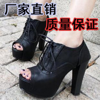 Wholesale 2012 autumn fashion all match open toe shoe thick heel platform belt female sandals ultra high heels