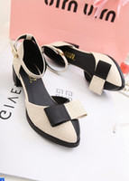 Wholesale 2013 thick heel pointed toe shoes shallow mouth bow colorant match medium hells shoes single shoes women s shoes