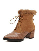 Wholesale Brown Fur Lace Up Elegant Cowhide Woman s Chunky Ankle Boots women shoes big size r56 u7 HjB