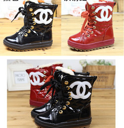 Wholesale 10 off The latest model of baby shoes senior PU children boot winter snow boots yards side zippers non slip kids shoes pairs JZ