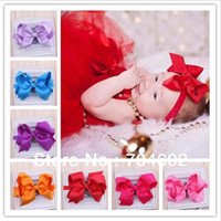 Wholesale Ribbon Fabric Hair Bows Baby Big Bowknot Elastic Hair Band Headbands set Freeshipping FDB72