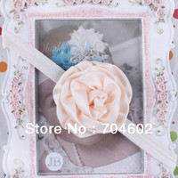 Wholesale Baby Satin Fabric Rose Flower With Shining Elastic Hair Band Hair Accessory set Freeshipping FDB61