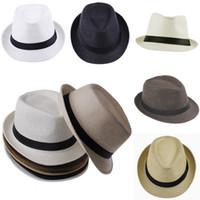 Wholesale Vogue Unisex Straw Fedora Hat Soft Panama Caps Summer Stingy Brim Beach Hat ZDS