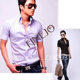 Wholesale Hot Sellling cotton Men s Short Sleeve Shirt Business casual Shirt black white Purple