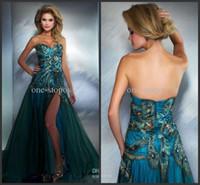 achat en gros de robes en strass fermeture éclair-Vente en gros - 2014 Sweetheart Peacock Split Robes de bal Tulle avec strass et fermeture à glissière Retour Robes de soirée de bal