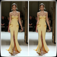 georges hobeika gowns - 2014 Georges Hobeika Yellow Column Sheath Sweetheart Sleeveless Chiffon Evening Dresses Long Front Slit Women s Party Pageant Gowns