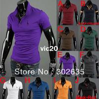 Men Polo Tops Free Shipping 50pcs lot 2013 New Men's Polo Casual Slim Fit Stylish Short-Sleeve t-Shirt Cotton T-shirt Size:M-XXL
