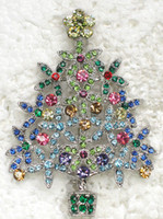 Other wholesale brooches - jewelry gift Multicolour Rhinestone Brooch Fashion Costume brand Brooches Crystal Christmas tree brooch C428 S4