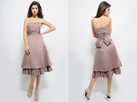 Model Pictures apricot green tea - Tea Length Strapless Bridesmaid Dresses Ruched A Line Apricot Sleeveles Satin Wholesales Homecoming Gowns New Arrival