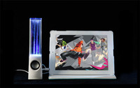 Wholesale Dancing Water Speaker Active Portable Mini USB LED Light Speaker For PC MP3 MP4 PSP Free DHL Shipping opec