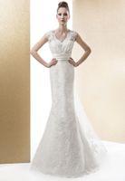 Wholesale Romantic Lace Style New Wedding Dresses Mermaid Detachable V Neck Sleeveless V Backless Appliques Ribbon Beads Fashion Bridal Gowns