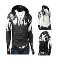 Wholesale S5Q New Hot Men s Slim Fit Hooded Fashion Printing Top Design Zip Hoodie AAACRK