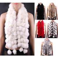 Wholesale S5Q New Women rabbit Fur Collar Neck Wrap Scarf Girl scarf Shawl AAACRN