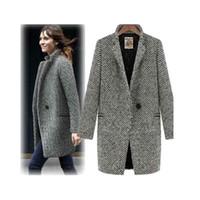 Wholesale S5Q Ladies Large Lapel Wool Cashmere Long Winter Coat AAACRW