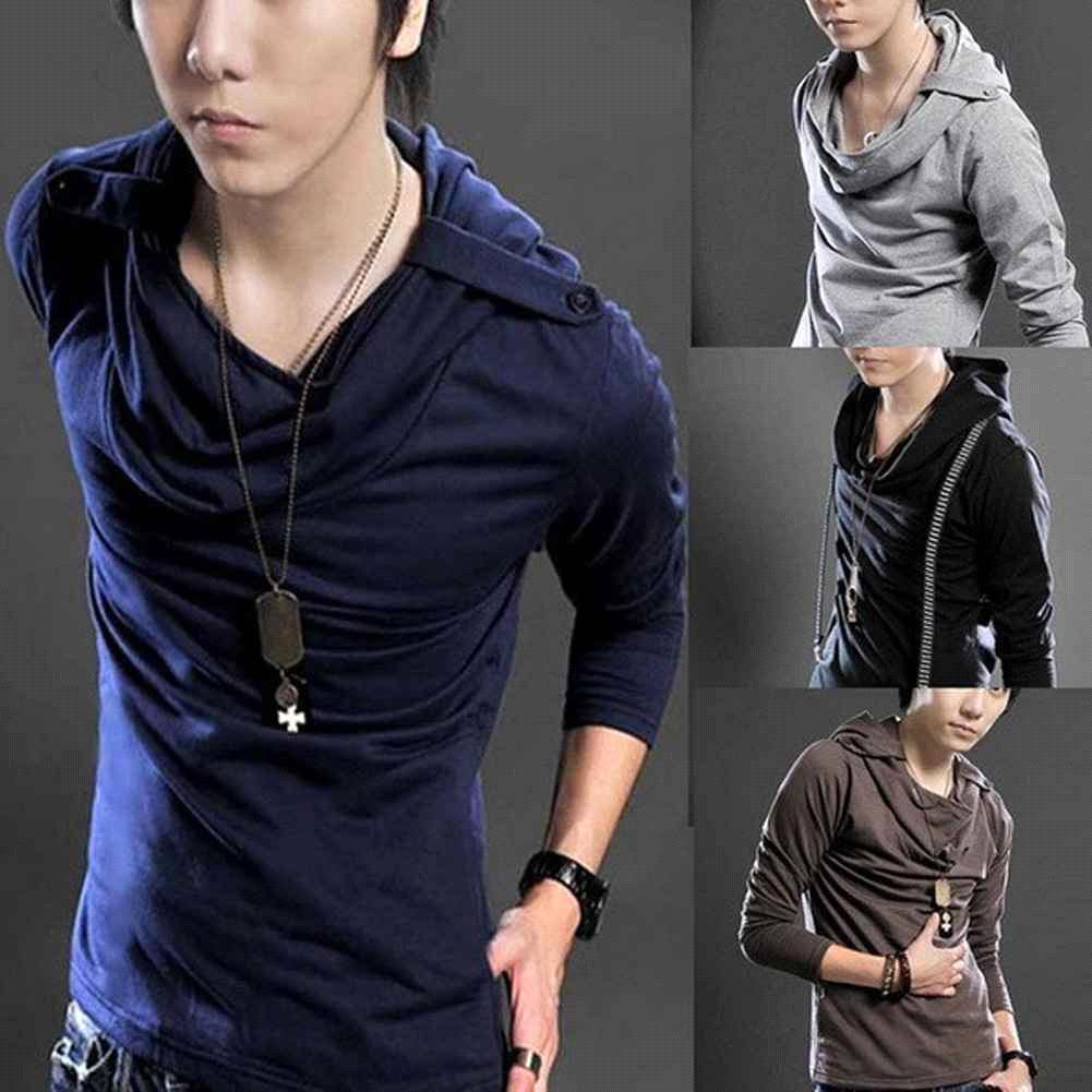 S5Q Hot Korean Badges Hooded Design Men's Long Sleeve T-Shirt Tee ...