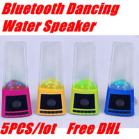 2.1 Universal Computer Mini Portable Bluetooth Dancing Water Speaker LED Light Built-in Battery USB Flash Mirco SD Card Slot for Computer Cell Phone MP3 MP4 5pcs